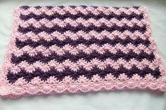 Baby Girl Blanket - Crochet baby blanket Pink & Plum Shell Waves Stroller/Travel/Car seat size. $36.99, via Etsy.