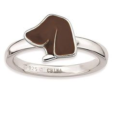 925 Sterling Silver Rhodium-plated Polished Brown Enameled Dog Head Ring by Stackable Expressions Size 9 >>> Click image for more details. Rose Jewelry, Types Of Rings, Stackable Rings, Band Rings, Sterling Silver Jewelry, Gifts For Women, Jewelry Gifts, Rings For Men, Enamel