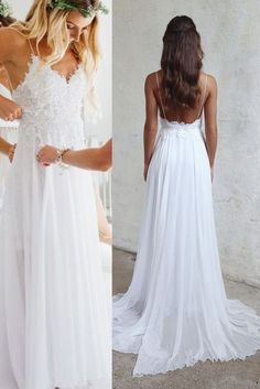 Spaghetti Strap V-neck White Chiffon Lace Appliqued Summer Beach Wedding Dresses,Bridal Dress