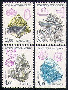 Rocks, minerals & geology stamp set, 1986 // République Française