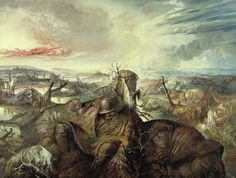 Otto Dix, Flandern, 1934. The painting shows a field in Flanders where three devastating battles were fought. In contrast to war-time propaganda images, Dix's canvas introduces war in the form of a battlefield where corpses and mud predominate, the one rotting and merging into the other. With this nightmarish tableau, Dix commemorated the victims of one World War in the hopes of preventing another.