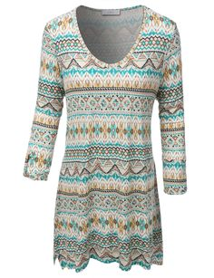 Wear this plus size flowy tribal print 3/4 sleeve top with a pair of jeans or leggings for a casual look; you can pair this top with a blazer and tuck it into your pants for a fun, work outfit. Made f