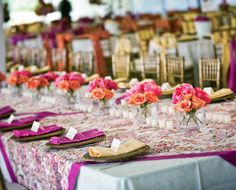 Want to recreate this for Spring? Rattan chargers, natural chiavari chairs, floral linens. Yes! @POSH Couture Rentals