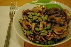 Marinated Mushrooms with Edamame and Walnuts