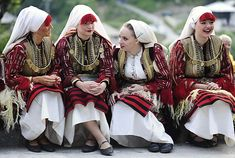 Women in folk costumes take part in a traditional wedding ceremony in the village of Galicnik