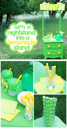 Turn a nightstand into a lemonade stand. The lemonade sign is made with green paper bags. Design Dazzle