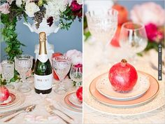 pomegranate table setting | CHECK OUT MORE IDEAS AT WEDDINGPINS.NET | #wedding