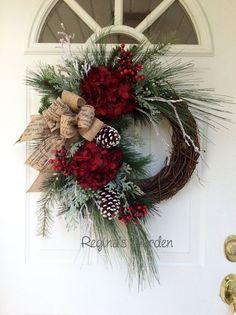 Christmas Wreath-Winter Wreath-Christmas Wreath for Front Door-Holiday Hydrangea Wreath-Designer Wreath-Snowy Wreath-Traditional Wreath-Berry Wreath This beautiful, sophisticated wreath is a nod to all the traditional elements of the Christmas holiday. Front Door Christmas Decorations, Holiday Wreaths, Holiday Crafts, Winter Wreaths, Christmas Door Wreaths, Noel Christmas, Winter Christmas, Christmas Ornaments, Christmas 2019