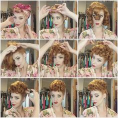 Lucille Ball hair… Was planning on doing a different style but decided to give my first poodle since going ginger a go! Lucille Ball, 1950s Hairstyles, Ball Hairstyles, Easy Vintage Hairstyles, Wedding Hairstyles, Pelo Retro, Pelo Vintage, Poodle Hair, Retro Updo