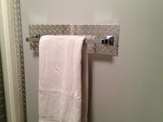 4 piece Diamond plate bath accessories set (With 18  towel bar) & Diamond Plate Brushed Coat Hanger | Ultimate Boys Bathroom ...