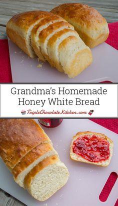 white bread Grandmas Homemade Honey White B - bread Honey White Bread Recipe, Homemade White Bread, Honey Bread, White Bread Recipes, Homemade Bread Without Yeast, Sandwich Bread Recipes, Yeast Bread Recipes, Bread Machine Recipes, Homemade Sandwich Bread