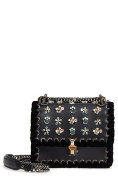 Best places to buy Fendi Mini Kan Beaded Flowers Calfskin Leather Shoulder  Bag 3990a35d50c6e