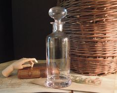 Vintage Clear Glass Tall Apothecary Bottle w/ Round Glass Stopper / Urban Industrial by VintageandMain