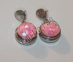 boucles d'oreilles boutons-pression globe verre,attaches pastilles argentées,oreille percées : Boucles d'oreille par lou-l-a-fee-creations-bijoux-bouton-pression