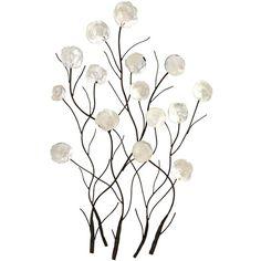 "Universal Lighting and Decor White Floral Capiz 36"" High Metal Wall... (115 BAM) ❤ liked on Polyvore featuring home, home decor, wall art, decor, fillers, flowers, furniture, black, flower wall art en black wall art"