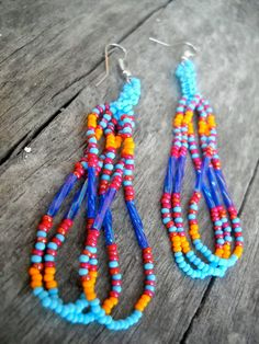 Blue Orange Beaded Earrings Peyote Stitch cranberry by MexiFolk, $14.50