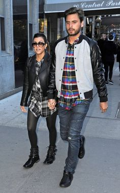 Kourtney (WEARING THE YSL BOOTS) and Scott shopping in NYC.