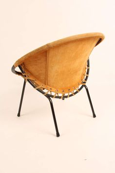 Anonymous; Suede, Leather and Enameled Metal 'Baloon' Chair by Lusch Erzeugnis, c1970.