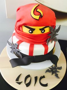 Ninjago cake Ninja Birthday Cake, Ninja Cake, Ninja Birthday Parties, 5th Birthday, Lego Ninjago Cake, Ninjago Party, Lego Cake, Lego Torte, Movie Cakes
