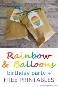 Ideas with free printables for a rainbow and balloons themed kids party. Inspiration for diy Rainbow and Balloons themed children's party. First Birthday Party Themes, Rainbow Birthday Party, Kids Party Themes, Diy Birthday, Party Ideas, Rainbow Balloons, Party Packs, Childrens Party, Business For Kids