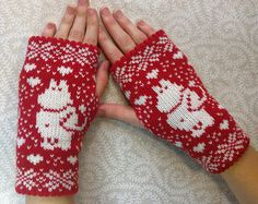 Hand-made adult fingerless mittens with moomin pattern, fingerless gloves