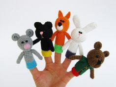 5 títeres de dedo ganchillo dedo Títeres regalo para por lamicogufo