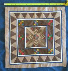 Hmong Reverse Applique Art Textile Quilting Patch Wall Hanging Paj Ntaub Appliqu\u00e9 on Cotton Fabric Quilting Square Tile Unfinished Edges