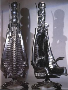 Harkonen Capo Chair - Cast Aluminum - Designed by H.R. Giger (Unused prop from the film DUNE)