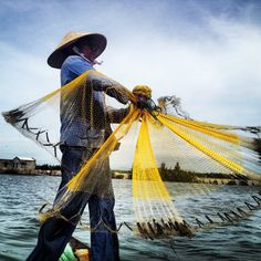 Getting a demo on how to use the fishing nets. #vietnam #fishing