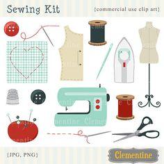 Retro sewing clip art retro clip art images by ClementineDigitals, $5.00