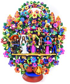 Spectacular Day of the Dead  Wedding folk art Arbol de la Vida  by  one of the Great Masters of Mexican Folk Art Oscar Soteno from Metepec, Mexico.