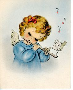 Vintage Norcross Christmas Greeting Card Angel Playing Flute 2539 | eBay