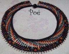 Poé gyöngyei: Saraguro 3. Beaded Collar, Collar Necklace, Neck Piece, Bead Art, Bead Weaving, Jewelery, Crochet Earrings, Arts And Crafts, Beads