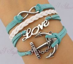 Infinity bracelet,love bracelet, anchor bracelet,mint green bracelet,infinity love, navy bracelet, antique silver