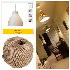 IKEA hack pendant lighting. IKEA Melodi pendant light $9.99 and hot glue gunned jute twine around the shade.