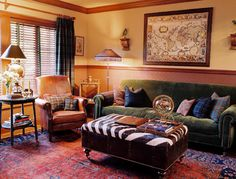 Warm and cozy leather and plaid living room.