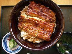 Unadon, Unagi Eel Donburi Rice Bowl, Japanese Food