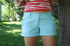 Free women's sewing pattern (free PDF) for rolled cuff trouser shorts