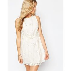 ASOS Mini Broderie Double Layer Sundress (£25) ❤ liked on Polyvore featuring dresses, cream, white embroidered dress, cream dress, tall dresses, white day dress and asos dresses