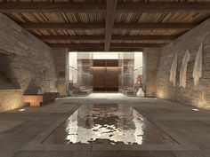 Contemporary Swimming Pool with Interior Pool, exterior stone floors, Indoor pool, Lap pool