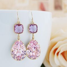 Rosaline Pink Swarovski Crystal with Lavender Glass Dangle Earrings - Earrings Nation
