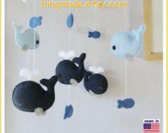 Baby Crib Mobile Baby Mobile Baby Boy Mobile Whale by hingmade