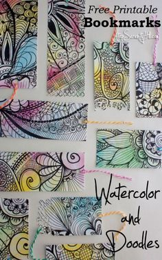 Free printable for watercolor and doodle bookmarks plus other creative uses! • AtopSerenityHill.com