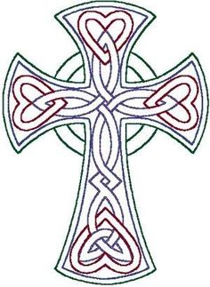 redwork Celtic Trinity knot cross embroidery design by anita