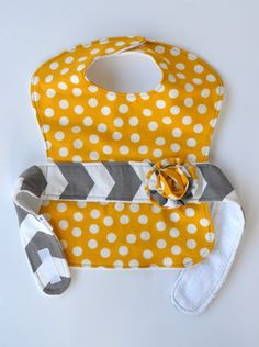 Baby Girl Less Mess Apron Bib  mustard yellow dots / by EagerBaby