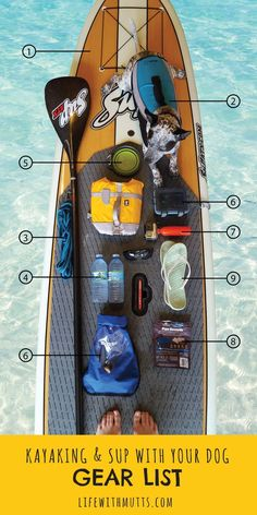 Want to kayak, SUP or canoe with your dog? Here's a list of everything you need to bring to keep you and your pup safe and happy on the water.