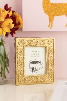 Love You As Much As Coffee Gold Framed Box Sign