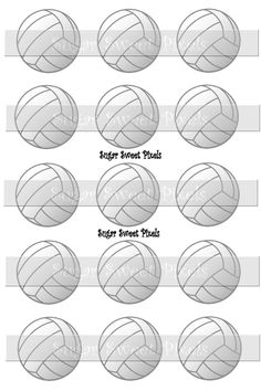INSTANT DOWNLOAD Volleyball  blank 1 inch Circle by sugarnspicebow