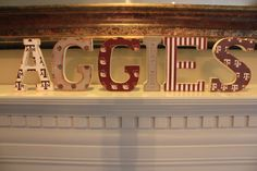 AGGIES Wooden Vintage Mantle/Shelf Letters for Texas A $56.00, via Etsy.
