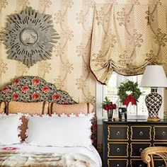 Congratulations to @tiltonfenwick on your story in @southernlivingmag! We're so pleased you chose our Brown Chicken Feather Lamp for this cheerful Master Bedroom.  by @laureywglenn